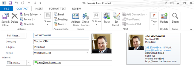 Joe Wichowski vcard Example